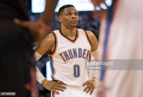 Russell Westbrook of the Oklahoma City Thunder waits to shoot free throws against the Houston Rockets during the second half of Game Three in the...