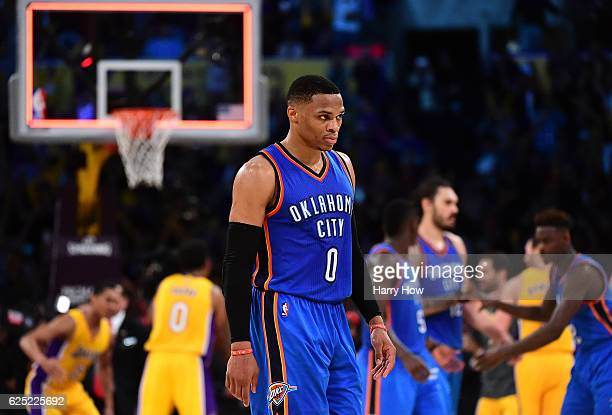 Russell Westbrook of the Oklahoma City Thunder walks off the court after a 111109 loss to the Los Angeles Lakers at Staples Center on November 22...