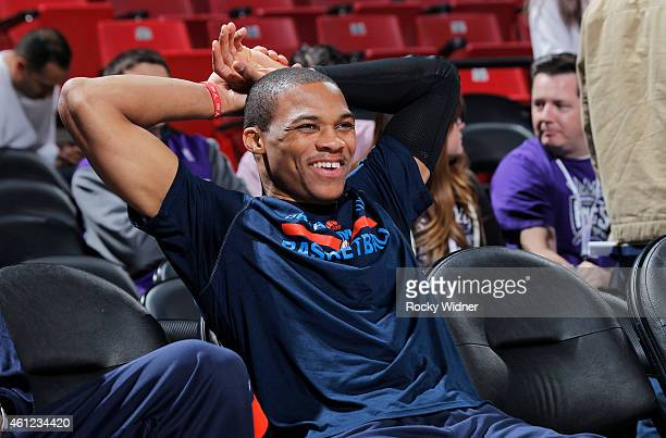 Russell Westbrook of the Oklahoma City Thunder warms up against the Sacramento Kings on January 7 2015 at Sleep Train Arena in Sacramento California...