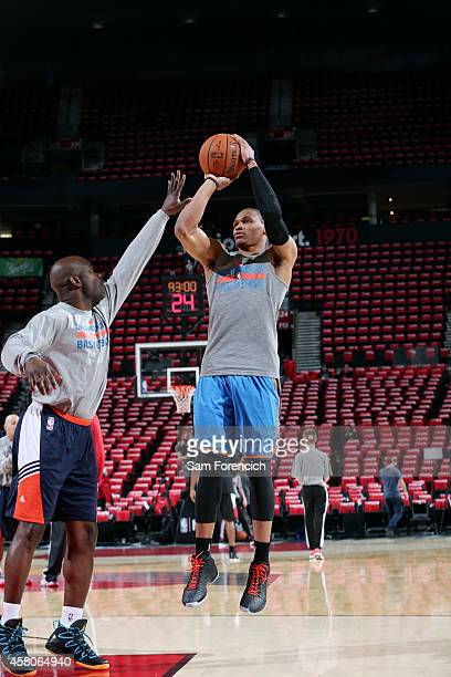 Russell Westbrook of the Oklahoma City Thunder warms up before a game against the Portland Trail Blazers on October 29 2014 in Portland OR NOTE TO...