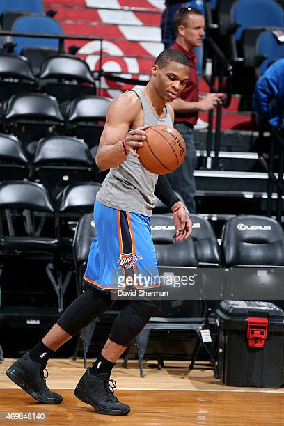 Russell Westbrook of the Oklahoma City Thunder warms up before a game against the Minnesota Timberwolves on April 15 2015 at Target Center in...