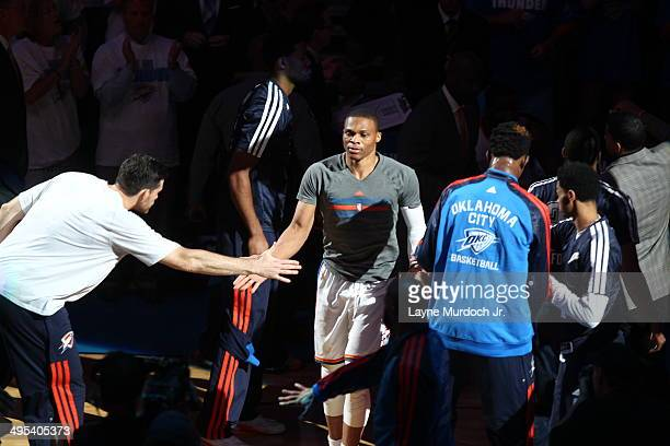 Russell Westbrook of the Oklahoma City Thunder warms up before Game Four of the Western Conference Finals against the San Antonio Spurs during the...