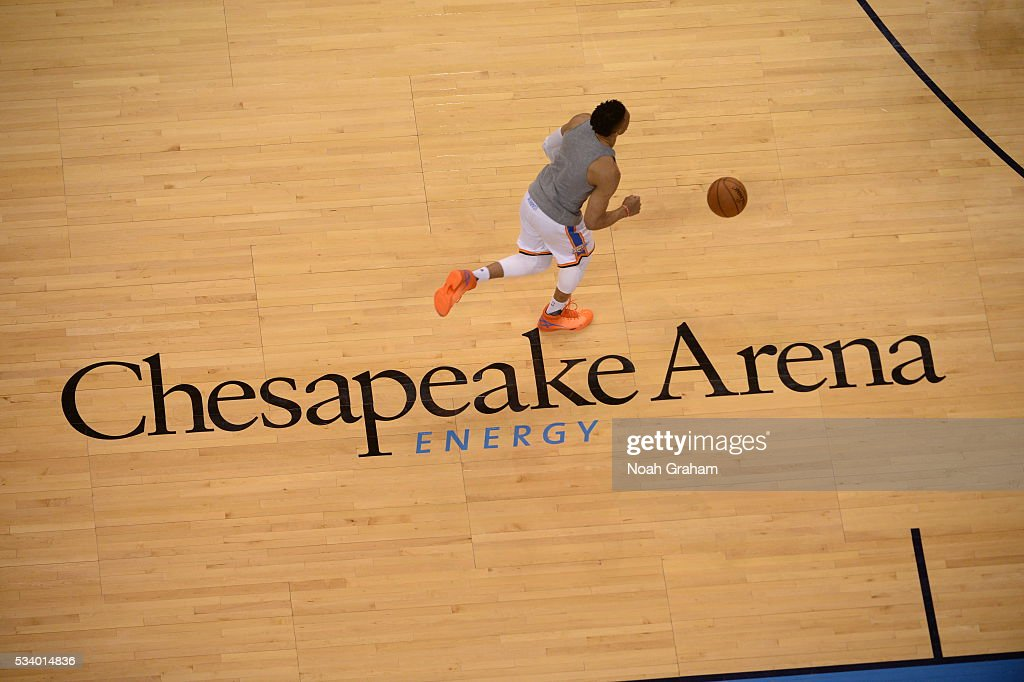 <a gi-track='captionPersonalityLinkClicked' href=/galleries/search?phrase=Russell+Westbrook&family=editorial&specificpeople=4044231 ng-click='$event.stopPropagation()'>Russell Westbrook</a> #0 of the Oklahoma City Thunder warms up before Game Four of the Western Conference Finals between the Golden State Warriors and Oklahoma City Thunder during the 2016 NBA Playoffs on May 24, 2016 at Chesapeake Energy Arena in Oklahoma City, Oklahoma.