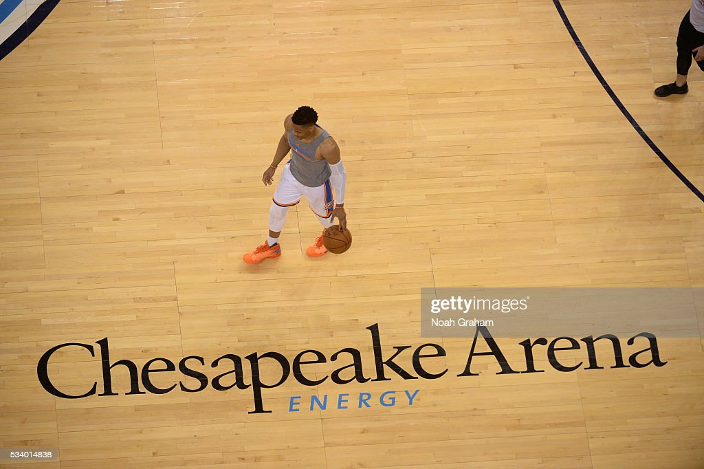 Russell Westbrook #0 of the Oklahoma City Thunder warms up before Game Four of the Western Conference Finals between the Golden State Warriors and Oklahoma City Thunder during the 2016 NBA Playoffs on May 24, 2016 at Chesapeake Energy Arena in Oklahoma City, Oklahoma.