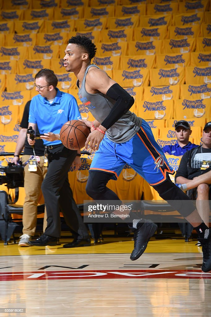 <a gi-track='captionPersonalityLinkClicked' href=/galleries/search?phrase=Russell+Westbrook&family=editorial&specificpeople=4044231 ng-click='$event.stopPropagation()'>Russell Westbrook</a> #0 of the Oklahoma City Thunder warms up before Game Seven of the Western Conference Finals between the Oklahoma City Thunder and Golden State Warriors during the 2016 NBA Playoffs on May 30, 2016 at Oracle Arena in Oakland, California.