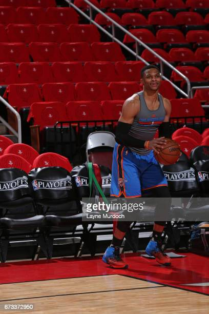 Russell Westbrook of the Oklahoma City Thunder warms up before Game Five of the Western Conference Quarterfinals against the Houston Rockets during...