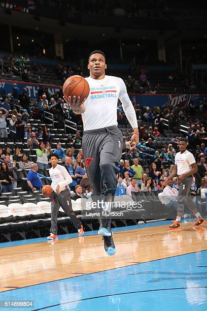Russell Westbrook of the Oklahoma City Thunder warms up before the game against the Minnesota Timberwolves on March 11 2016 at Chesapeake Energy...