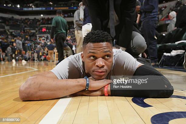 Russell Westbrook of the Oklahoma City Thunder warms up before the game against the Indiana Pacers on March 19 2016 at Bankers Life Fieldhouse in...