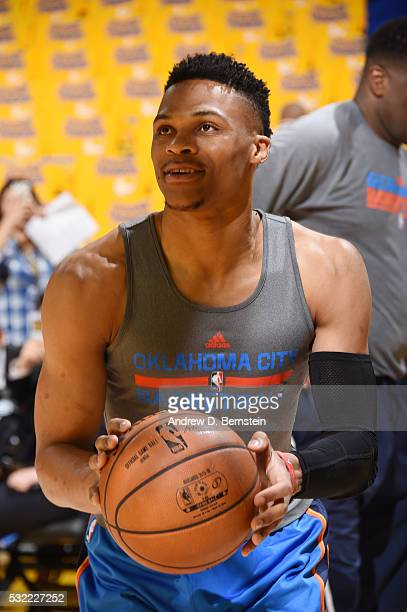 Russell Westbrook of the Oklahoma City Thunder warms up before the game against the Golden State Warriors in Game Two of the Western Conference...