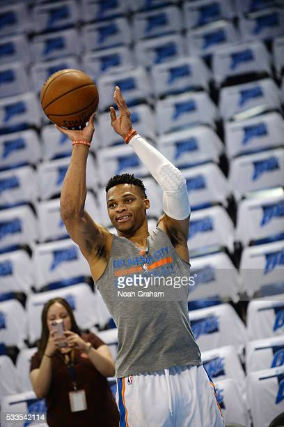 Russell Westbrook of the Oklahoma City Thunder warms up before the game against the Golden State Warriors in Game Three of the Western Conference...
