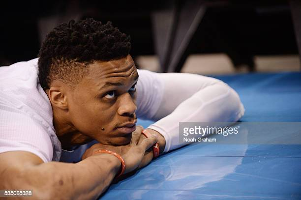 Russell Westbrook of the Oklahoma City Thunder warms up before the game against the Golden State Warriors in Game Six of the Western Conference...