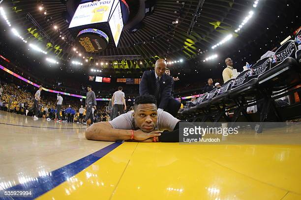 Russell Westbrook of the Oklahoma City Thunder warms up before the game against the Golden State Warriors in Game Seven of the Western Conference...