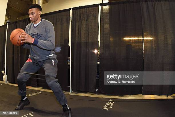 Russell Westbrook of the Oklahoma City Thunder warms up before the game against the Golden State Warriors during Game Seven of the Western Conference...