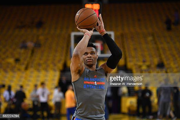 Russell Westbrook of the Oklahoma City Thunder warms up prior to game two of the Western Conference Finals during the 2016 NBA Playoffs at ORACLE...