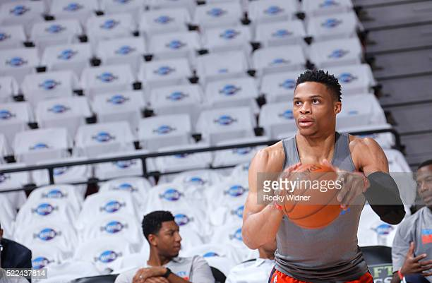 Russell Westbrook of the Oklahoma City Thunder warms up prior to the game against the Sacramento Kings on April 9 2016 at Sleep Train Arena in...