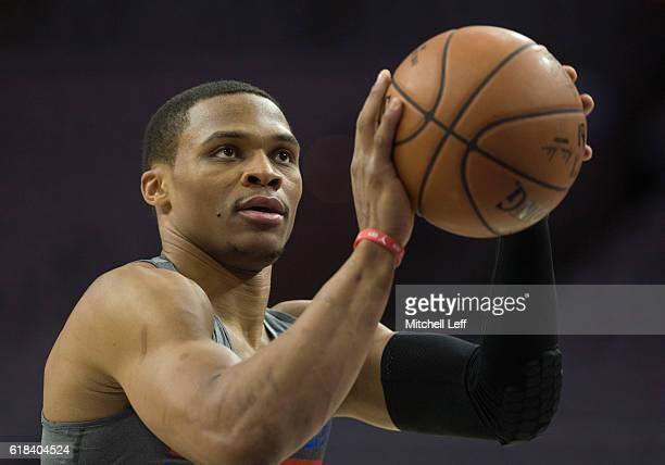 Russell Westbrook of the Oklahoma City Thunder warms up prior to the game against the Philadelphia 76ers at Wells Fargo Center on October 26 2016 in...