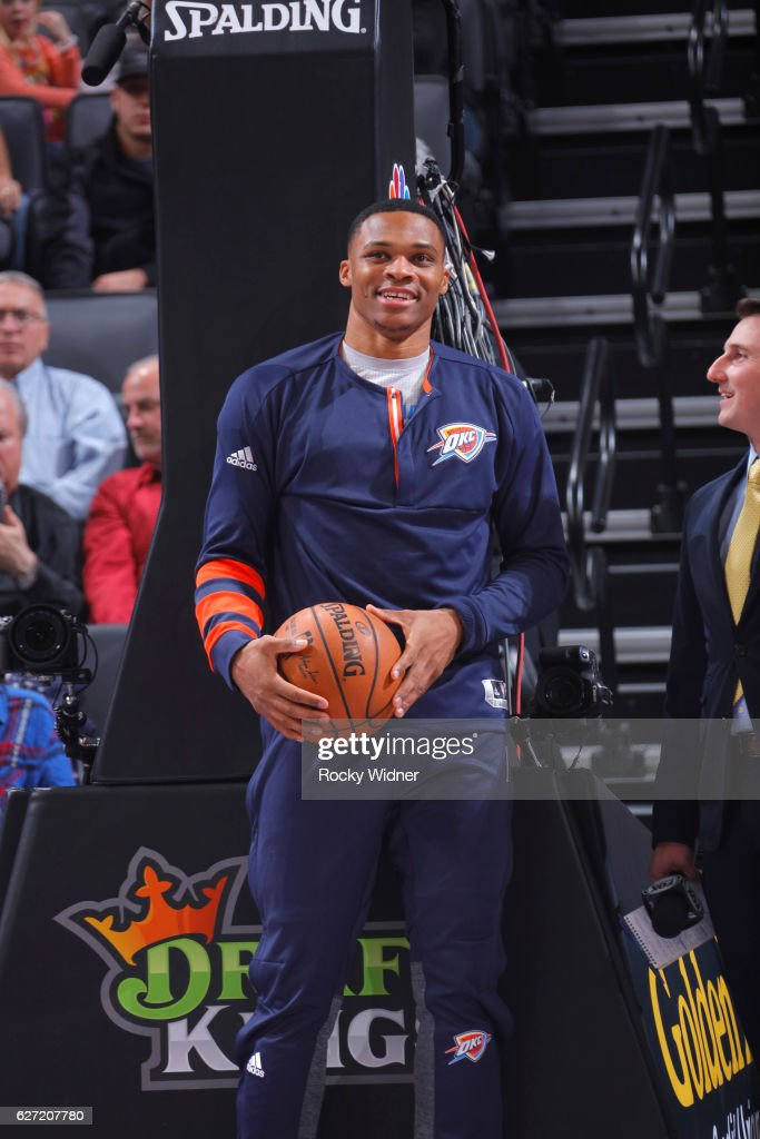 Russell Westbrook #0 of the Oklahoma City Thunder warms up prior to the game against the Sacramento Kings on November 23, 2016 at Golden 1 Center in Sacramento, California.