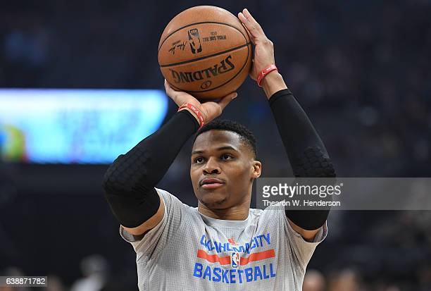 Russell Westbrook of the Oklahoma City Thunder warms up prior to the start of an NBA basketball game against the Sacramento Kings at Golden 1 Center...