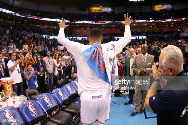 Russell Westbrook of the Oklahoma City Thunder waves to the crowd after the game against the Milwaukee Bucks on April 4 2017 at Chesapeake Energy...