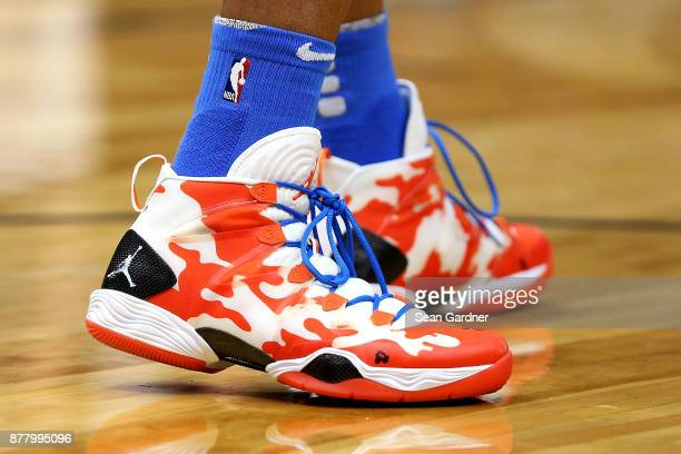Russell Westbrook of the Oklahoma City Thunder wears a pair of Nike shoes during a NBA game against the New Orleans Pelicans at the Smoothie King...
