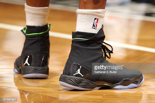 Russell Westbrook of the Oklahoma City Thunder wears the Jordan Brand XX8 sneakers and against the Brooklyn Nets on December 4 2012 at the Barclays...