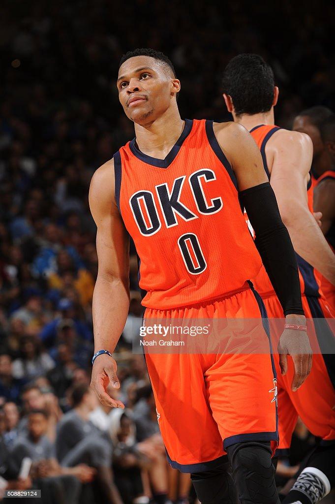 <a gi-track='captionPersonalityLinkClicked' href=/galleries/search?phrase=Russell+Westbrook&family=editorial&specificpeople=4044231 ng-click='$event.stopPropagation()'>Russell Westbrook</a> #0 of the Oklahoma City Thunder while facing the Golden State Warriors on February 6, 2016 at Oracle Arena in Oakland, California.