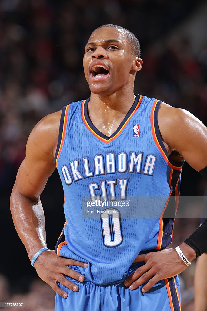 <a gi-track='captionPersonalityLinkClicked' href=/galleries/search?phrase=Russell+Westbrook&family=editorial&specificpeople=4044231 ng-click='$event.stopPropagation()'>Russell Westbrook</a> #0 of the Oklahoma City Thunder yells against the Portland Trail Blazers on December 4, 2013 at the Moda Center Arena in Portland, Oregon.