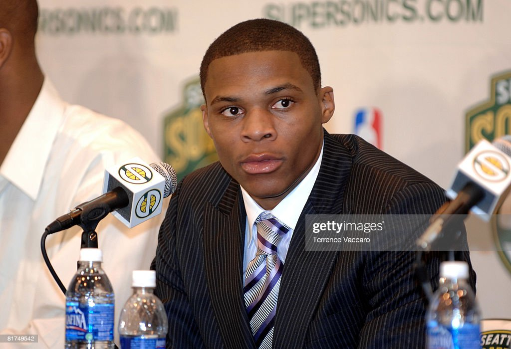Russell Westbrook of the Seattle SuperSonics during a post draft press conference on June 27, 2008 at the Furtado Center in Seattle, Washington.