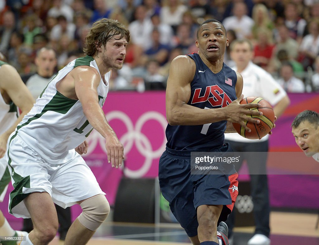 <a gi-track='captionPersonalityLinkClicked' href=/galleries/search?phrase=Russell+Westbrook&family=editorial&specificpeople=4044231 ng-click='$event.stopPropagation()'>Russell Westbrook</a> of the United States during the Men's Basketball Preliminary Round match United States v Lithuania on Day 8 of the London 2012 Olympic Games at the Basketball Arena on August 4, 2012 in London, England.