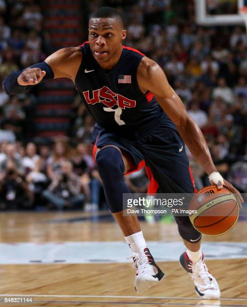 Russell Westbrook of the USA during an Olympic warm up match against Great Britain at the Manchester Arena