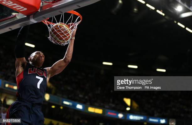 Russell Westbrook of the USA scores during an Olympic Warm Up match at the Manchester Arena Manchester