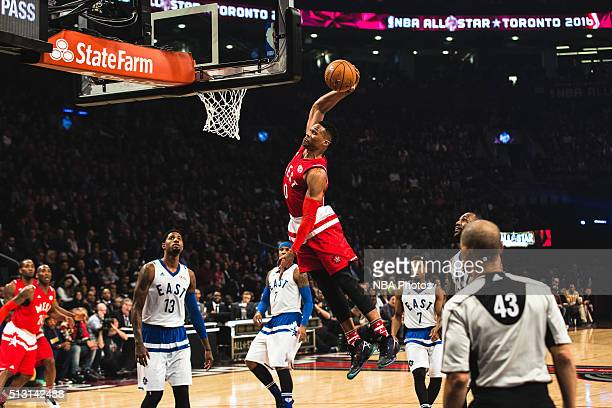 Russell Westbrook of the West Team dunks against Paul George of the East Team during the NBA AllStar Game as part of the 2016 NBA AllStar Weekend on...