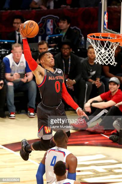 Russell Westbrook of the Western Conference AllStar Team dunks the ball during the NBA AllStar Game as part of the 2017 NBA All Star Weekend on...