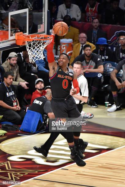 Russell Westbrook of the Western Conference AllStar Team dunks the ball during the 2017 NBA AllStar Game on February 19 2017 at the Smoothie King...