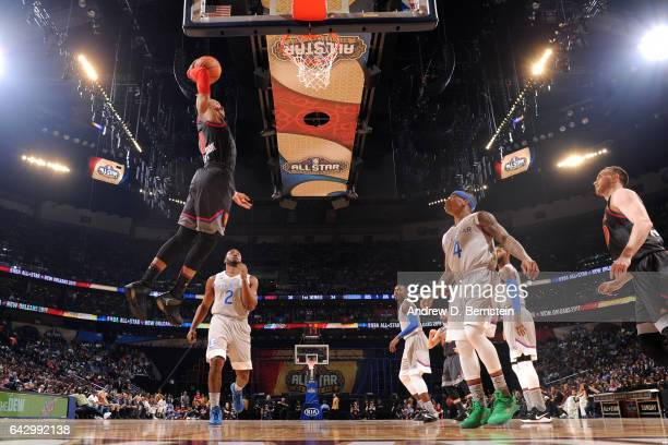 Russell Westbrook of the Western Conference AllStar Team goes in for the dunk against the Eastern Conference AllStar Team during the NBA AllStar Game...