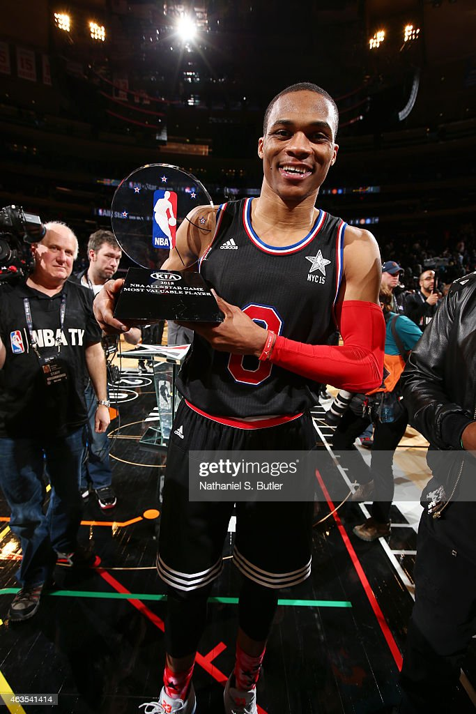 <a gi-track='captionPersonalityLinkClicked' href=/galleries/search?phrase=Russell+Westbrook&family=editorial&specificpeople=4044231 ng-click='$event.stopPropagation()'>Russell Westbrook</a> #0 of the Western Conference All-Star Team is awarded the Kia NBA All-Star Game MVP trophy during the 64th NBA All-Star Game presented by Kia as part of the 2015 NBA All-Star Weekend on February 15, 2015 at Madison Square Garden in New York, New York.