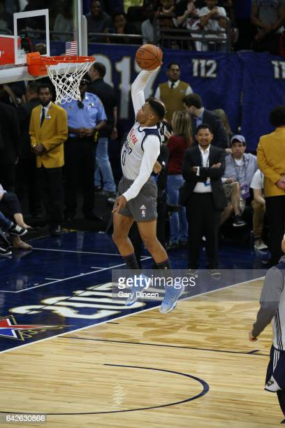 Russell Westbrook of the Western Conference AllStars dunks during the 2017 NBA AllStar Practice as part of 2017 AllStar Weekend at the MercedesBenz...
