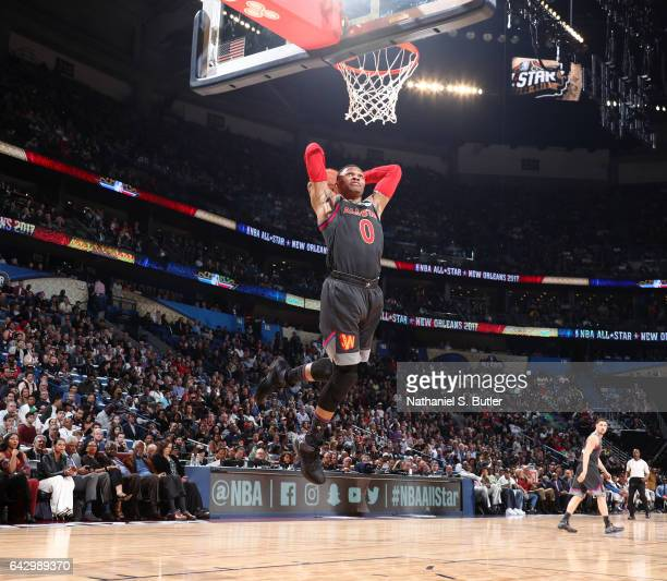 Russell Westbrook of the Western Conference AllStars dunks during the NBA AllStar Game as part of the 2017 NBA All Star Weekend on February 19 2017...