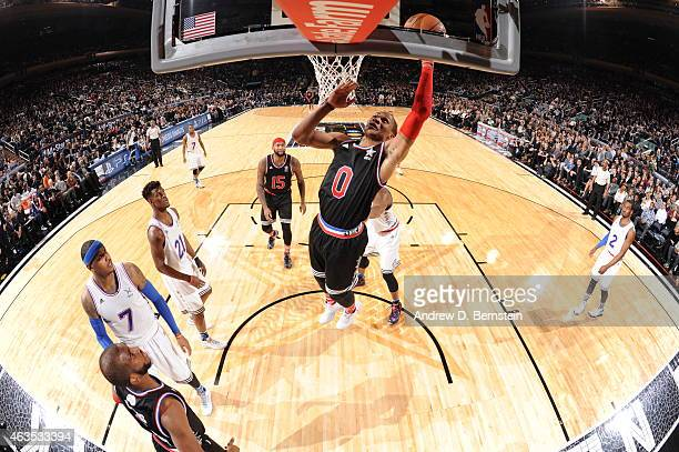 Russell Westbrook of the Western Conference AllStars goes up for a shot against the Eastern Conference AllStar in the 2015 NBA AllStar Game on...