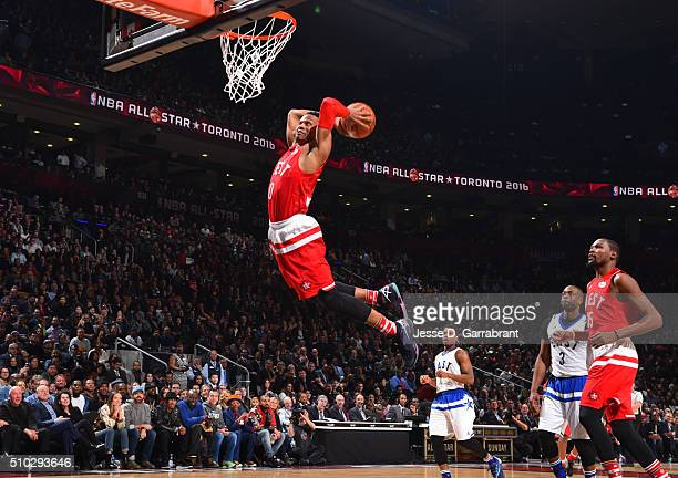 Russell Westbrook of the Western Conference AllStars goes up for the dunk during the NBA AllStar Game as part of the 2016 NBA All Star Weekend on...