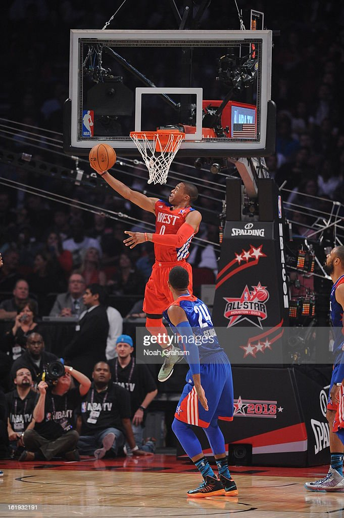 Russell Westbrook #0 of the Western Conference All-Stars shoots a reverse layup against the Eastern Conference All-Stars during the 2013 NBA All-Star Game presented by Kia on February 17, 2013 at the Toyota Center in Houston, Texas.