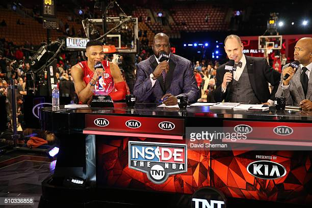 Russell Westbrook of the Western Conference AllStars sits on the set of Inside the NBA following the NBA AllStar Game as part of the 2016 NBA AllStar...