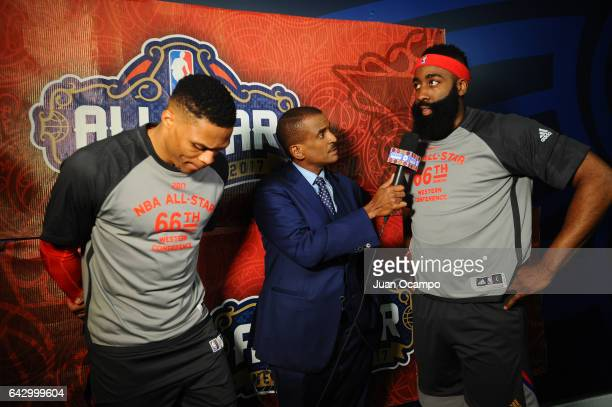 Russell Westbrook of the Western Conference and James Harden of the Western Conference are interviewed before the 2017 NBA AllStar Game on February...