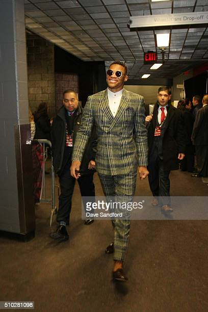 Russell Westbrook of the Western Conference arrives before the 2016 NBA AllStar Game on February 14 2016 at the Air Canada Centre in Toronto Ontario...