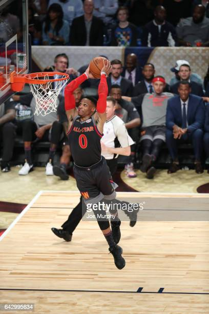 Russell Westbrook of the Western Conference dunks during the NBA AllStar Game as a part of 2017 AllStar Weekend at the Smoothie King Center on...