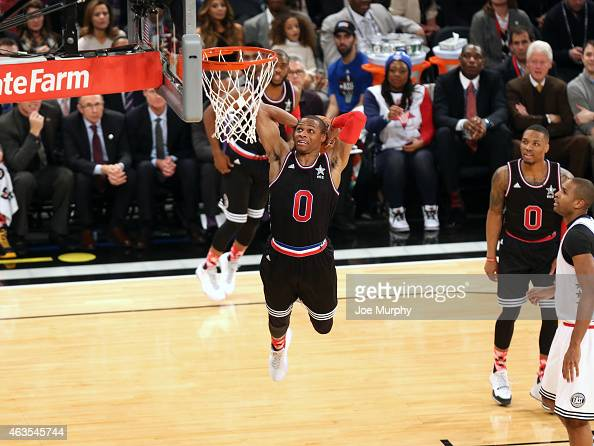 Russell Westbrook of the Western Conference dunks the ball against the Eastern Conference during the 2015 NBA AllStar Game as part of the 2015...