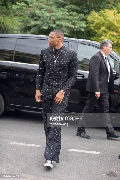 Russell Westbrook outside the Dior Homme show at Grand Palais on June 24 2017 in Paris France