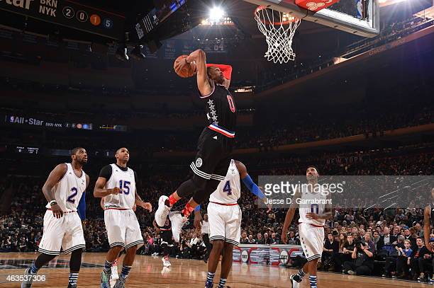 Russell Westbrook playing for the West Coast allstars goes up of the dunk during the 2015 NBA AllStar Game at Madison Square Garden on February 15...