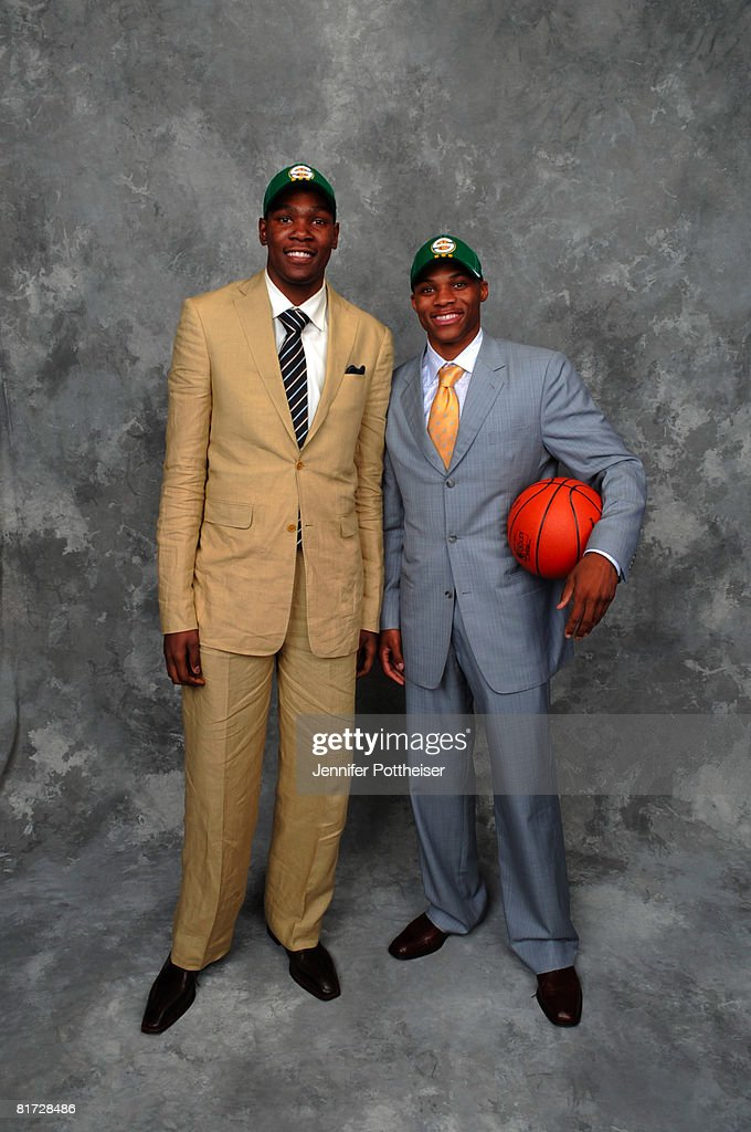 Russell Westbrook poses for a portrait backstage with Kevin Durant of the Seattle SuperSonics after being selected number four overall during the 2008 NBA Draft on June 26, 2008 at the WaMu Theatre at Madison Square Garden in New York City.