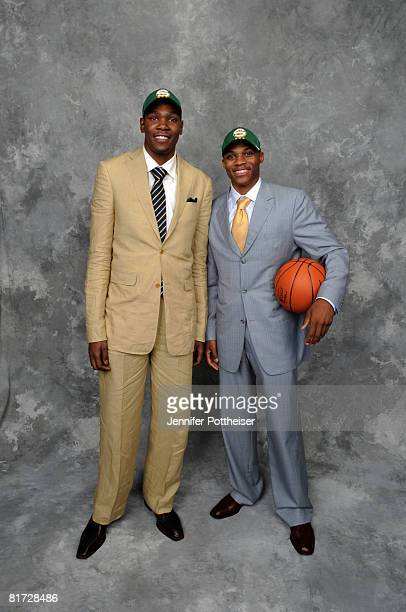 Russell Westbrook poses for a portrait backstage with Kevin Durant of the Seattle SuperSonics after being selected number four overall during the...